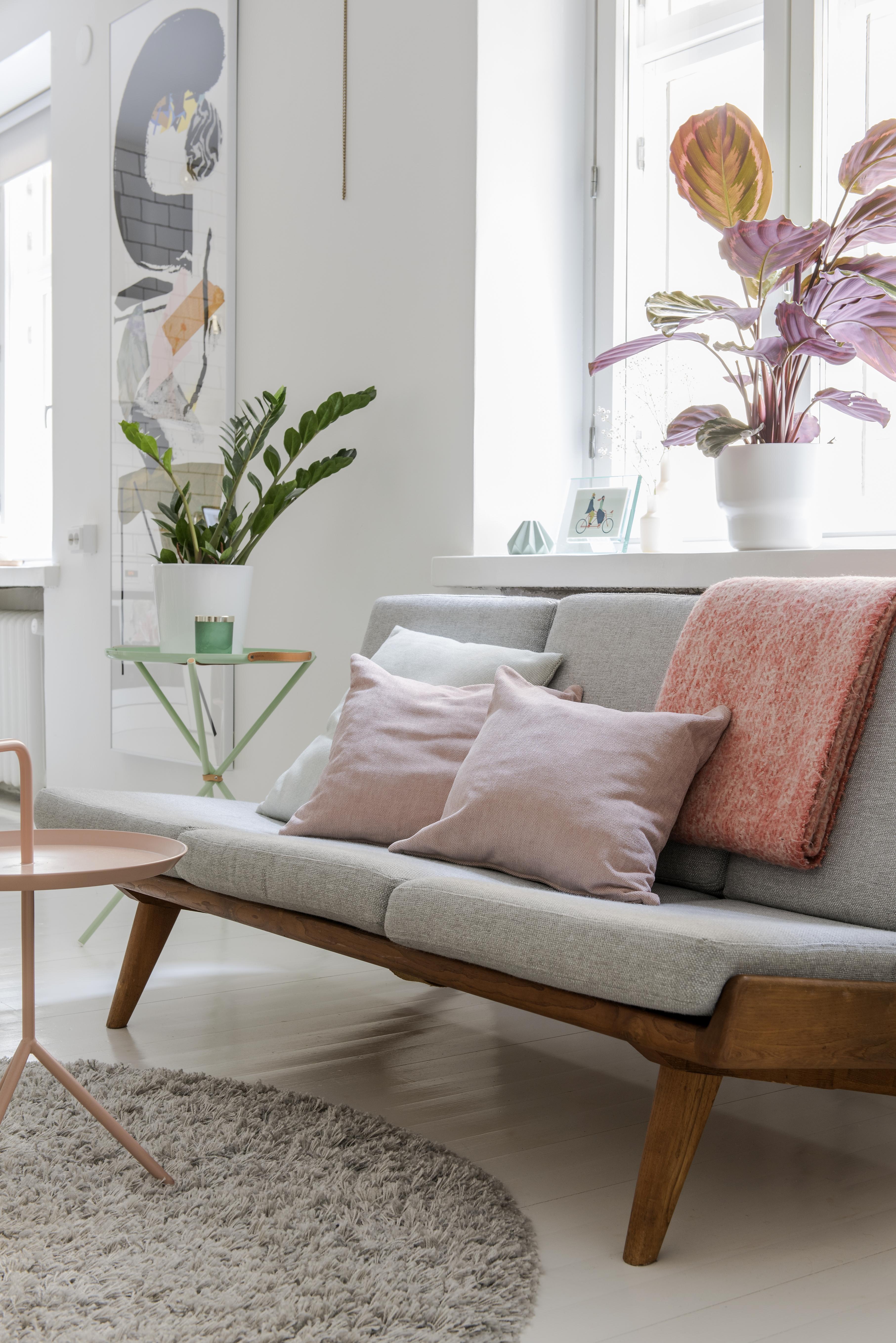 Carl-Gustaf Hiort af Ornäsin suunnittelema ja Puunveiston valmistama  Studio-sohva vuodelta 1954. Vaaleanpunainen DLM-pöytä on Hayn a9681571c7