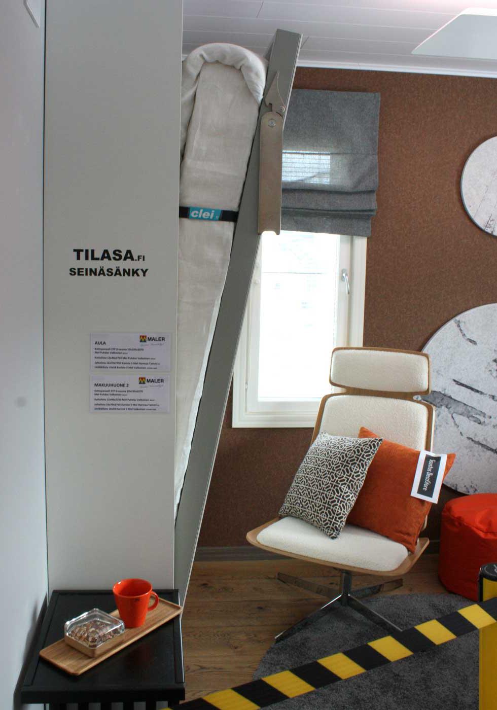 seinälle nostettava sänky Pienen tilan sisustusvinkit asuntomessuilta | Meillä kotona seinälle nostettava sänky